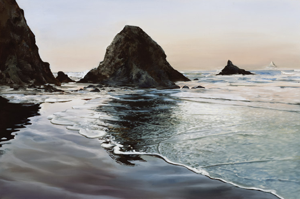 Painting of ocean water and rocks by Tom Wheeler