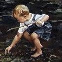 Painting of boy in water with rocks