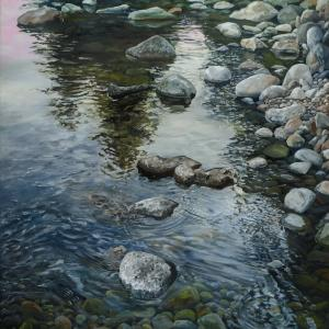 "East Fork Ripples, 23.25"" x 25.5"", Oil on board"