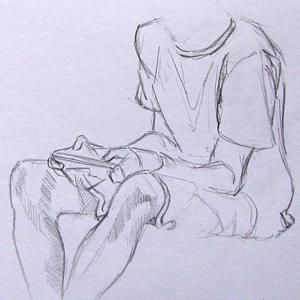 sketch of boy on kindle