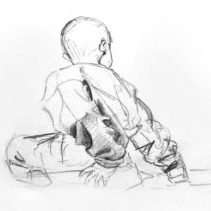Boy turning - sketch