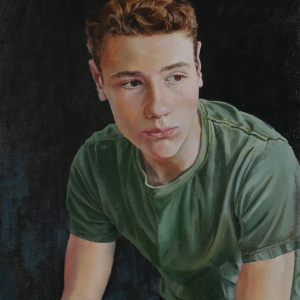 "Portrait of Eli. Oil on panel, 16.5"" x 28.5"""