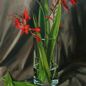 Crocosmia Flowers & Vase painting by Tom Wheeler