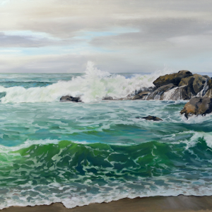 """Ocean Morning Breaker"" - 37.5""x19"" Oil on Panel"
