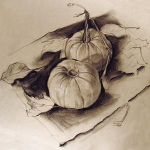 Drawing - Pumpkins by Tom Wheeler