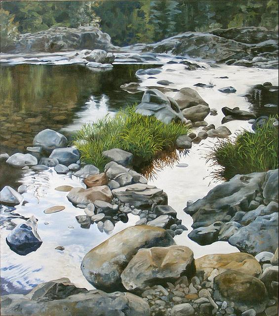 Evening at Lucia Falls - painting by Tom Wheeler