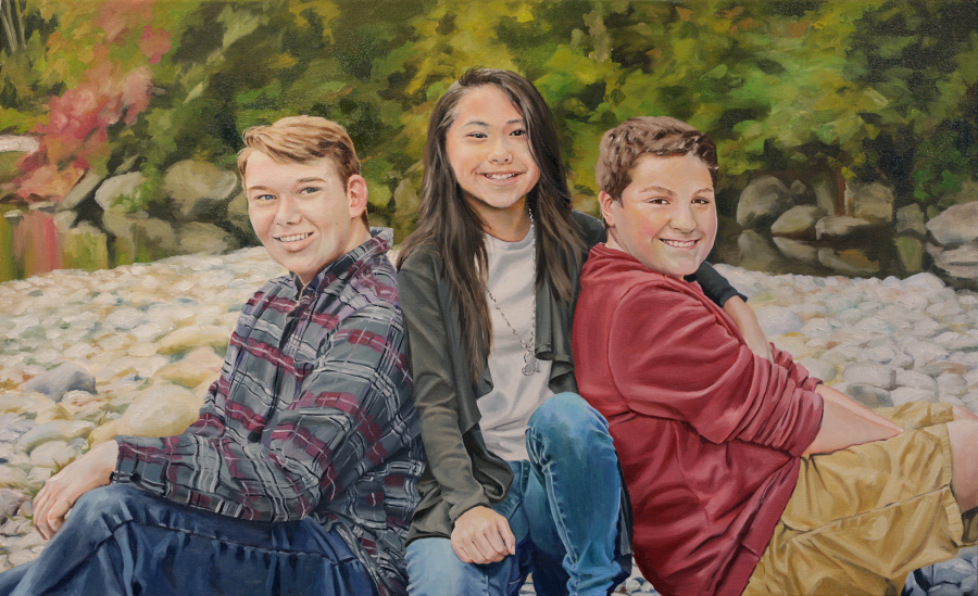"""Siblings"", 17x28"" Oil on Canvas"