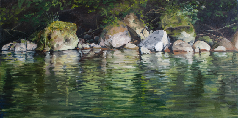 Shoreline painting, east fork Lewis river