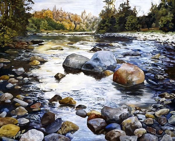 East Fork of the Lewis River, Southwest Washington - Painting by Thomas Wheeler