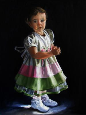 oil portrait of a little girl by Tom Wheeler
