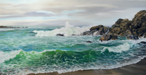 """Crashing Morning Breakers"" - 37.5""x19"" Oil on Panel"