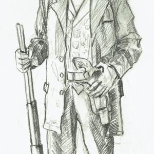 Cowboy Standing with Rifle