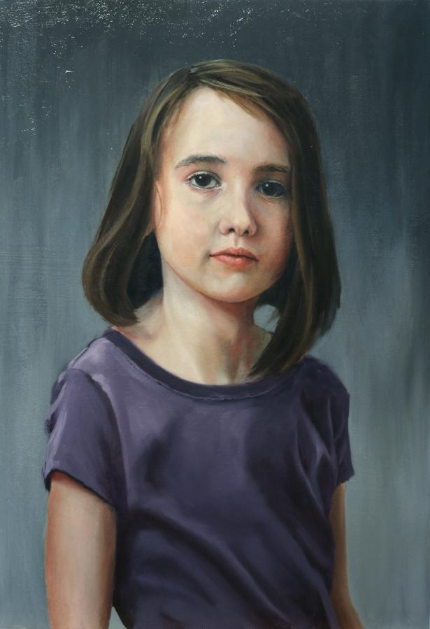 """Portrait of Bailey Rose, 14.5"""" x 21"""" Oil on Panel"""