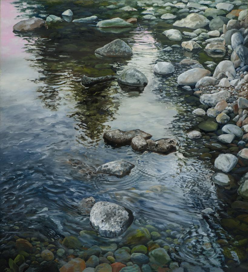 """East Fork Ripples, 23.25"""" x 25.5"""", Oil on board"""