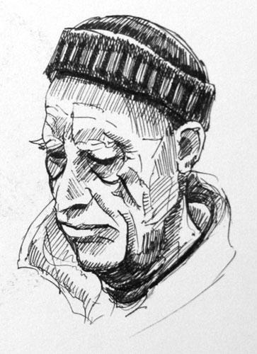 Pen drawing of an old man
