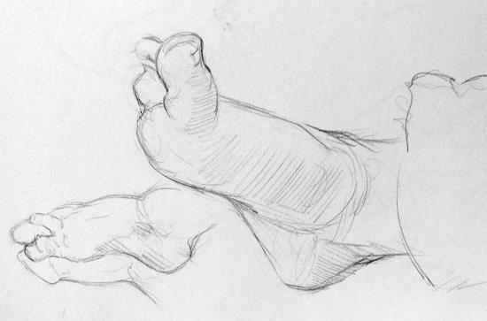 Study of baby feet - sketches