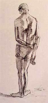 drawing of a man - head down