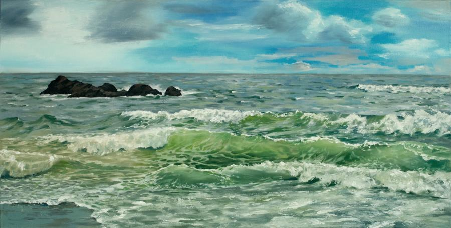 """""""Commotion"""" - Seascape Oil Painting by Tom Wheeler"""