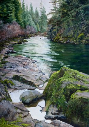 Small pools and rocks - painting by Tom Wheeler
